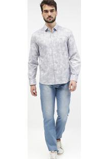 Camisa Slim Fit Geomã©Trica Com Botãµes - Branca & Azularamis