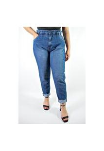 Calça Pisom Mom Jeans Com Elástico Azul Escuro