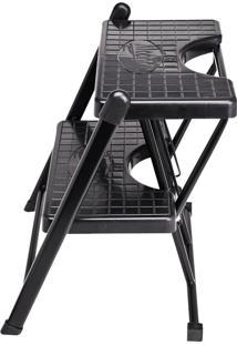 Escada 2 Degraus Anodilar - Preto - Multistock