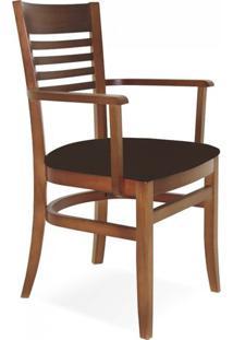 Cadeira Estofada Com Braços Paris Marie Tramontina Amêndoa/Café