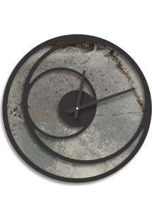 Relógio De Parede Premium Magma Petra Com Relevo Preto Ônix 50Cm Grande
