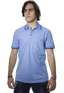 Camiseta Laos Gola Polo Manga Curta Com Bolso Um Azul Claro