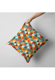 Capa De Almofada Avulsa Decorativa Multi Triângulos Coloridos 45X45Cm