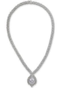 Colar Gota Cravejado De Zircônias Prata E Banho Em Ródio Branco