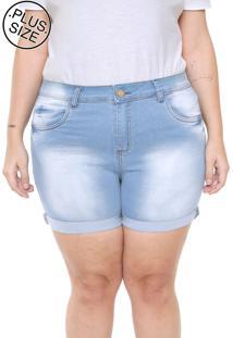 Short Jeans Plus Size Da Vgi Azul - Azul - Feminino - Dafiti