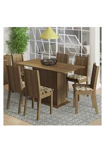 Conjunto Sala De Jantar Madesa Celeny Mesa Tampo De Madeira Com 6 Cadeiras - Rustic/Bege Marrom Marrom