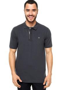 Camisa Polo Manga Curta Alamo Zíper Cinza