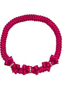 Faixa De Cabelo Trançada Lacinhos & Strass Pink - Roana Tre00069009 Faixa De Cabelo Trançada 3 Laços Tricot Pink