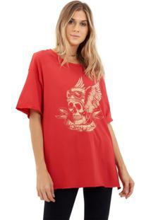 Camiseta John John Pilot Skull Malha Vermelho Feminina (Vermelho Medio, P)