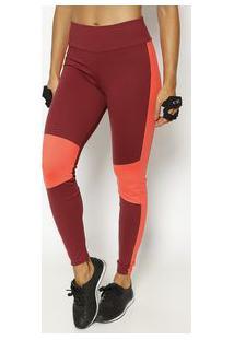 Body For Sure Legging Com Elã¡Stico & Recortes Vermelho Escuro & Laran