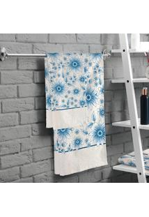 Jogo De Banho Lepper Dália Flores 2 Peças Azul