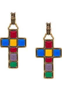 Gucci Par De Brincos Com Pingente De Crucifixo - Dourado