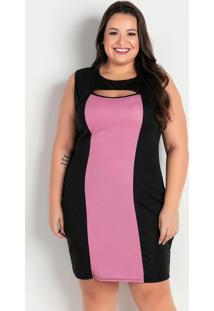 Vestido Curto Preto E Rosa Com Detalhe Plus Size