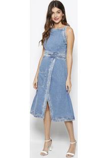 41a5a8cb1 ... Vestido Mídi Jeans- Azul- Zincomorena Rosa