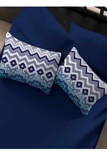 Jogo De Lençol Casal Simples Portallar Azul Marinho/Azul