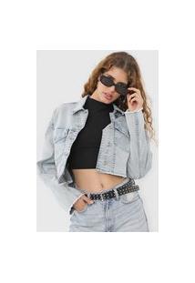 Jaqueta Cropped Jeans Ellus Bolsos Azul