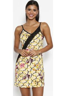 Camisola Floral & Geométrica Com Renda- Amarela & Rosa
