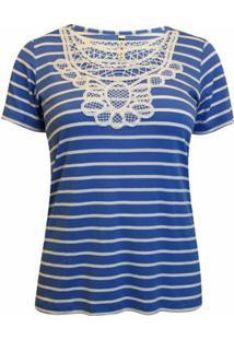 Blusa Pau A Pique Listrada Feminina - Feminino-Azul