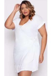 Vestido Almaria Plus Size Izzat Esposende Viscose Branco Branco