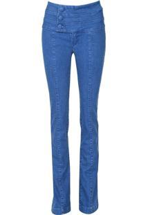 Calça Jeans Lança Perfume Bootcut Botões Azul