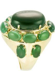 Anel Banho De Ouro Com Pedra Jade Oval - Feminino-Verde