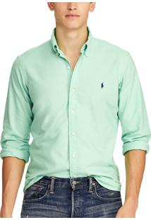 Camisa Ralph Lauren Masculina Custom Fit Oxford Verde