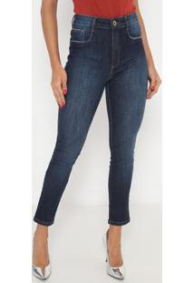 Jeans Super High Ankle Estonado- Azul Escuro- Lança Lança Perfume