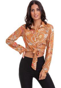 Camisa Kinara Crepe Cropped De Amarrar Na Cintura Marrom