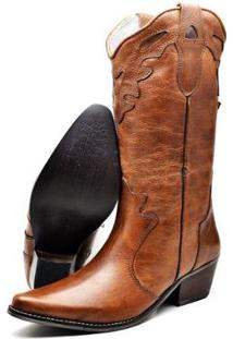 Bota Texana Country Su Fashion Store Couro Cano Longo Bico Fino Feminina - Feminino-Caramelo
