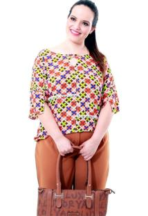 Blusa Vick X Plus Size Vickttoria Vick Plus Size Marrom