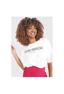 Camiseta Cropped Colcci Soy Perfecta Off-White