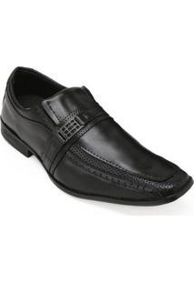 Sapato Social Couro Pro Eleganci Masculino - Masculino-Preto