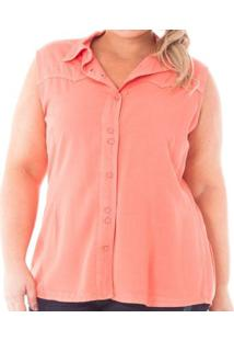 Camisa Confidencial Extra Plus Size Regata De Sarja Com Botões Feminina - Feminino-Coral