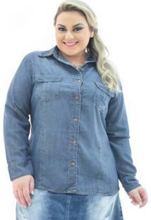 Camisa Jeans Confidencial Extra Plus Size Manga Longa Com Bolsos Feminina - Feminino-Azul Escuro