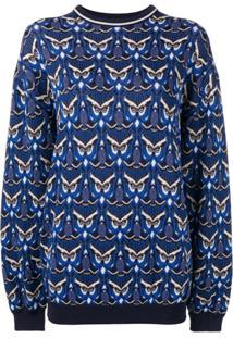 Chloé Suéter Com Padronagem De Corujas - Azul