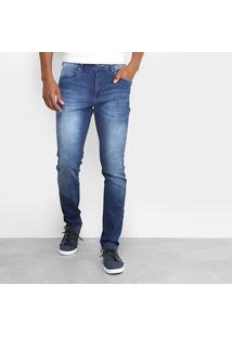 Calça Jeans Skinny Cavalera Estonada Elastano Masculina - Masculino