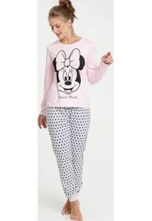Pijama Feminino Minnie Manga Longa Disney