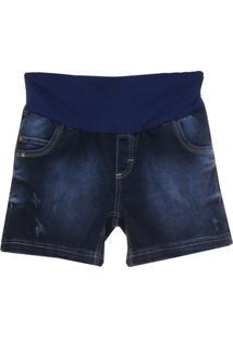 Short Jeans Emma Fiorezi Pesponto Triplo - Feminino-Marinho
