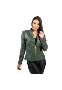 Jaqueta De Couro Np Couros Com Matelassê Verde