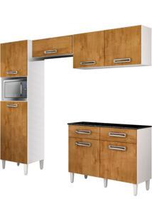 Cozinha Compacta Topázio 7 Pt 2 Gv Branca Com Caramelo