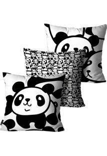 Kit Com 3 Capas Para Almofadas Mdecore Infantil Panda Preto E Branco 45X45Cm