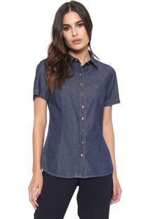 Camisa Jeans Dudalina Slim Logo Azul