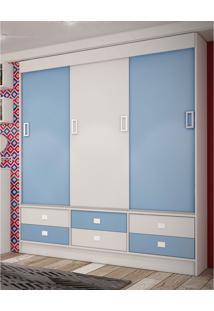 Guarda Roupa 3 Portas De Correr Baby Azul Percasa Móveis