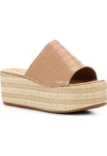 Tamanco Shoestock Flatform Slide - Feminino-Nude