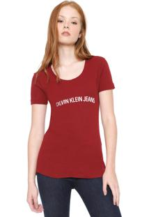 Camiseta Calvin Klein Jeans Lettering Vinho