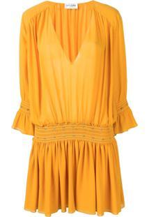 Saint Laurent Vestido Georgette Com Tachas - Amarelo