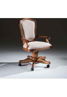 Cadeira Com Braço Giratória Hillux Madeira Maciça Design Clássico Avi Móveis