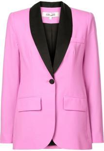 Dvf Diane Von Furstenberg Blazer Slim Com Detalhe Contrastante - Rosa
