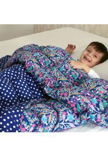 Cobertor Ponderado Artesanal Azul Florido Grande 2 M X 1.4 M - Teiajubinha