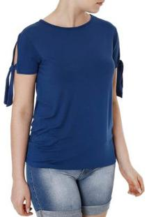 Blusa Fio Da Moda Manga Curta Feminina - Feminino-Azul